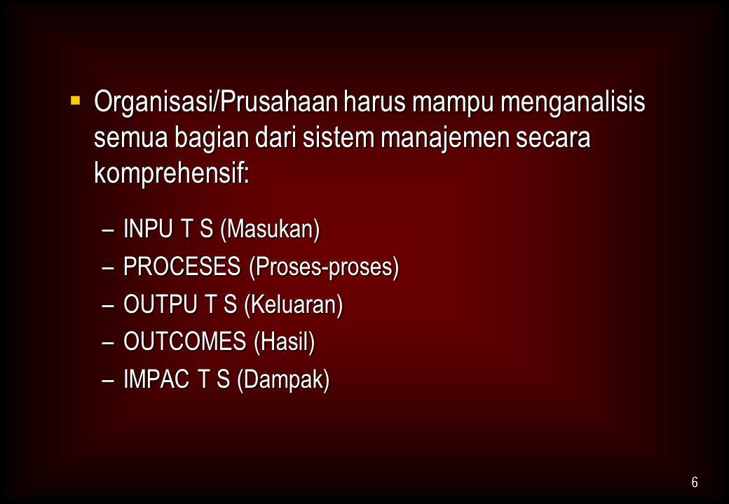  Organisasi/Prusahaan harus mampu menganalisis semua bagian dari sistem manajemen secara komprehensif: –INPU T S (Masukan) –PROCESES (Proses-proses)