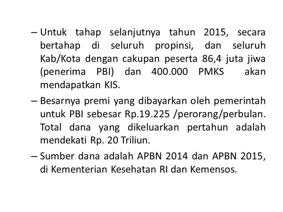 – Untuk tahap selanjutnya tahun 2015, secara bertahap di seluruh propinsi, dan seluruh Kab/Kota dengan cakupan peserta 86,4 juta jiwa (penerima PBI) dan 400.000 PMKS akan mendapatkan KIS.