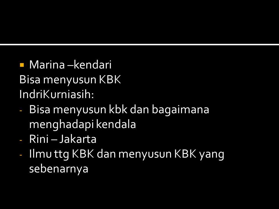  Marina –kendari Bisa menyusun KBK IndriKurniasih: - Bisa menyusun kbk dan bagaimana menghadapi kendala - Rini – Jakarta - Ilmu ttg KBK dan menyusun KBK yang sebenarnya