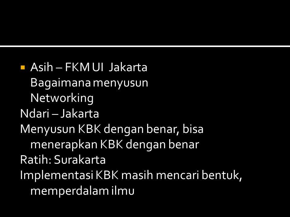  Asih – FKM UI Jakarta Bagaimana menyusun Networking Ndari – Jakarta Menyusun KBK dengan benar, bisa menerapkan KBK dengan benar Ratih: Surakarta Implementasi KBK masih mencari bentuk, memperdalam ilmu
