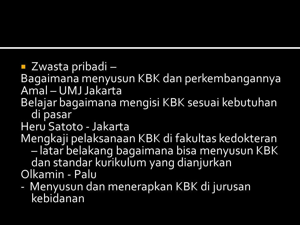  Zwasta pribadi – Bagaimana menyusun KBK dan perkembangannya Amal – UMJ Jakarta Belajar bagaimana mengisi KBK sesuai kebutuhan di pasar Heru Satoto - Jakarta Mengkaji pelaksanaan KBK di fakultas kedokteran – latar belakang bagaimana bisa menyusun KBK dan standar kurikulum yang dianjurkan Olkamin - Palu - Menyusun dan menerapkan KBK di jurusan kebidanan