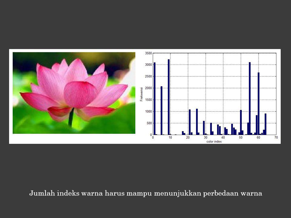 Jumlah indeks warna harus mampu menunjukkan perbedaan warna