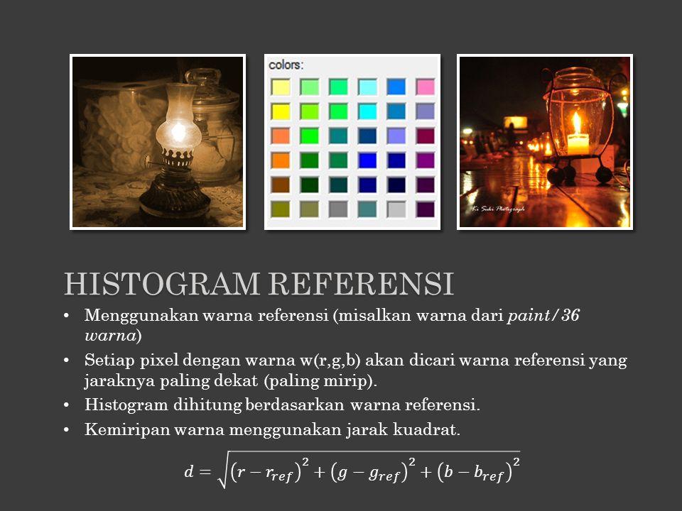 Menggunakan warna referensi (misalkan warna dari paint/36 warna ) Setiap pixel dengan warna w(r,g,b) akan dicari warna referensi yang jaraknya paling