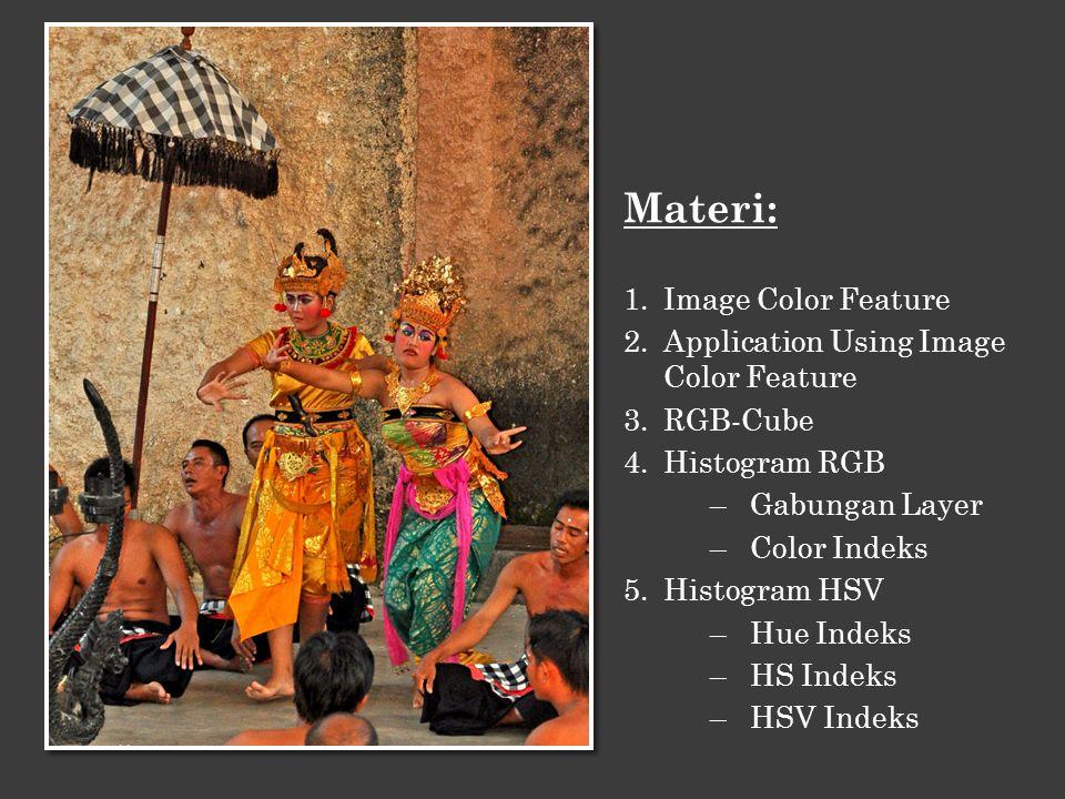 Ada tiga ciri dasar dalam citra yaitu: warna, bentuk dan tekstur.