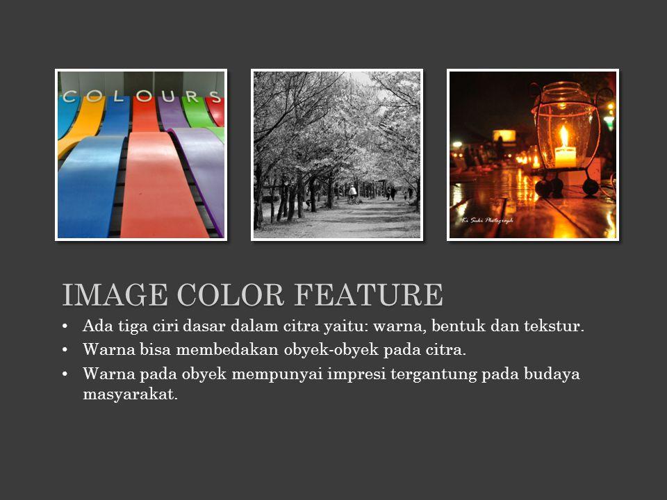 Ada tiga ciri dasar dalam citra yaitu: warna, bentuk dan tekstur. Warna bisa membedakan obyek-obyek pada citra. Warna pada obyek mempunyai impresi ter
