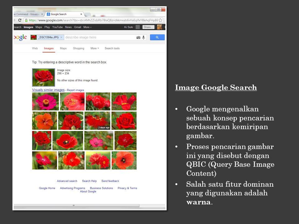 Image Google Search Google Search mampu mencari gambar sesuai content Tidak hanya mampu menghasilkan gambar, namun juga informasi yang berkaitan dengan gambar.
