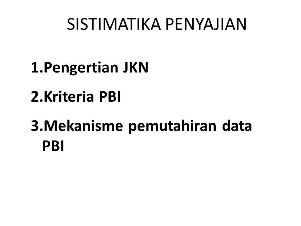 2 SISTIMATIKA PENYAJIAN 1.Pengertian JKN 2.Kriteria PBI 3.Mekanisme pemutahiran data PBI