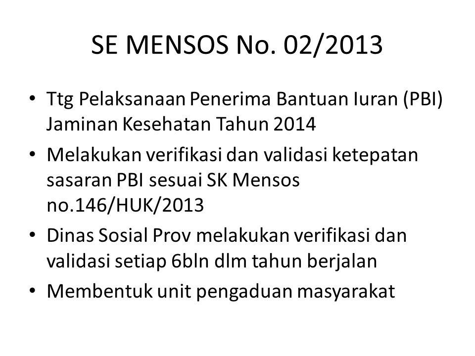 SE MENSOS No. 02/2013 Ttg Pelaksanaan Penerima Bantuan Iuran (PBI) Jaminan Kesehatan Tahun 2014 Melakukan verifikasi dan validasi ketepatan sasaran PB