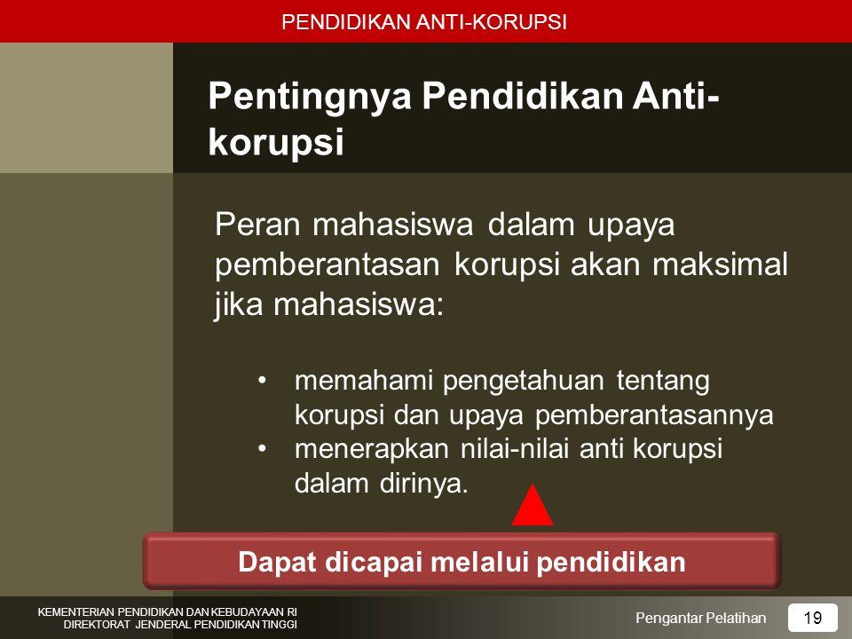 Pentingnya Pendidikan Anti- korupsi Peran mahasiswa dalam upaya pemberantasan korupsi akan maksimal jika mahasiswa: memahami pengetahuan tentang korup