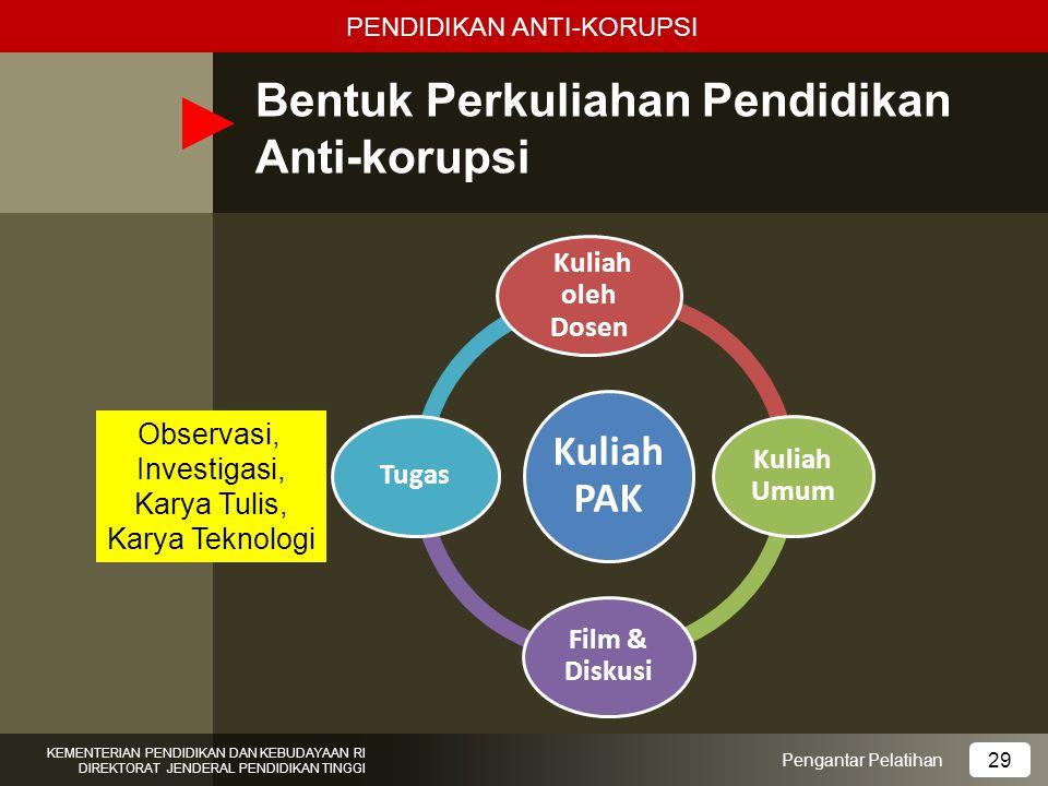 Bentuk Perkuliahan Pendidikan Anti-korupsi Pengantar Pelatihan KEMENTERIAN PENDIDIKAN DAN KEBUDAYAAN RI DIREKTORAT JENDERAL PENDIDIKAN TINGGI 29 Kulia