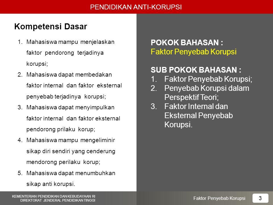 1.Mahasiswa mampu menjelaskan faktor pendorong terjadinya korupsi; 2.Mahasiswa dapat membedakan faktor internal dan faktor eksternal penyebab terjadin