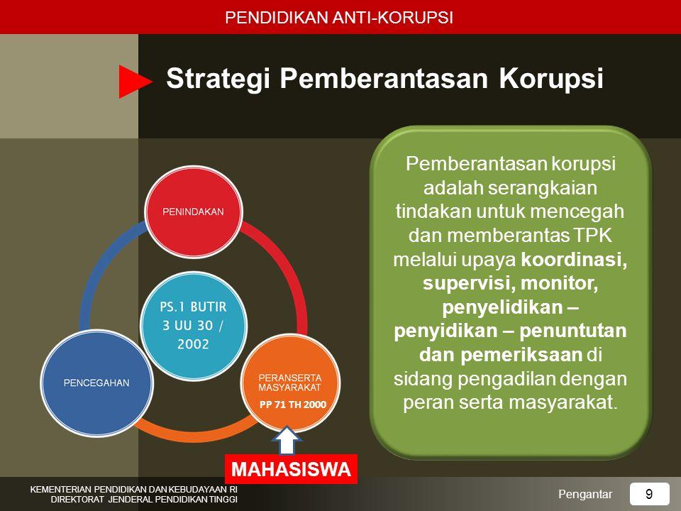 KEMENTERIAN PENDIDIKAN DAN KEBUDAYAAN RI DIREKTORAT JENDERAL PENDIDIKAN TINGGI Kompetensi yang diharapkan: 6 METODE PEMBELAJARAN Mampu mencegah orang lain untuk tidak korupsi dan berperilaku koruptif Mampu mengenali dan memahami korupsi dan pemberantasannya Mampu mencegah diri sendiri untuk tidak korupsi dan berperilaku koruptif