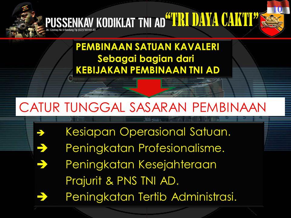PEMBINAAN SATUAN KAVALERI Sebagai bagian dari KEBIJAKAN PEMBINAAN TNI AD PEMBINAAN SATUAN KAVALERI Sebagai bagian dari KEBIJAKAN PEMBINAAN TNI AD  Kesiapan Operasional Satuan.