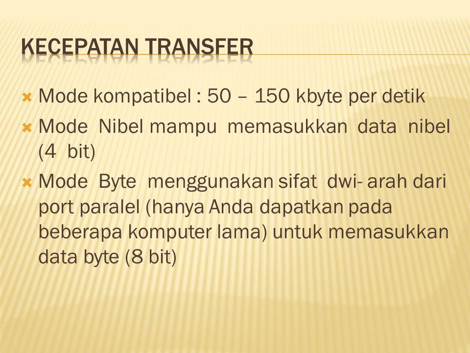  Mode kompatibel : 50 – 150 kbyte per detik  Mode Nibel mampu memasukkan data nibel (4 bit)  Mode Byte menggunakan sifat dwi- arah dari port paralel (hanya Anda dapatkan pada beberapa komputer lama) untuk memasukkan data byte (8 bit)