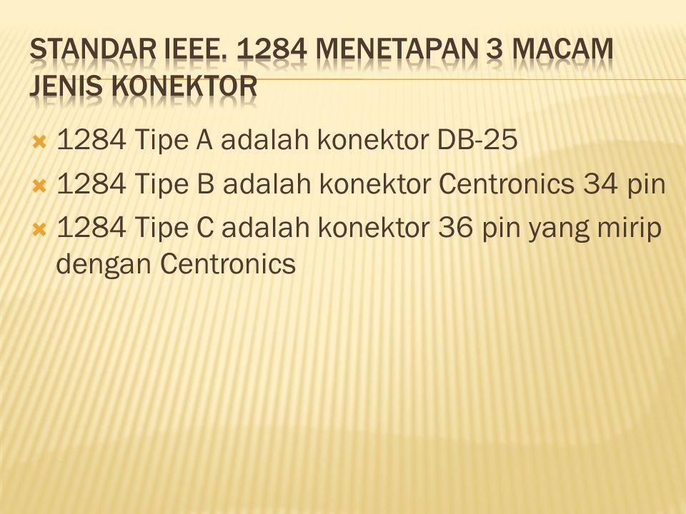  1284 Tipe A adalah konektor DB-25  1284 Tipe B adalah konektor Centronics 34 pin  1284 Tipe C adalah konektor 36 pin yang mirip dengan Centronics