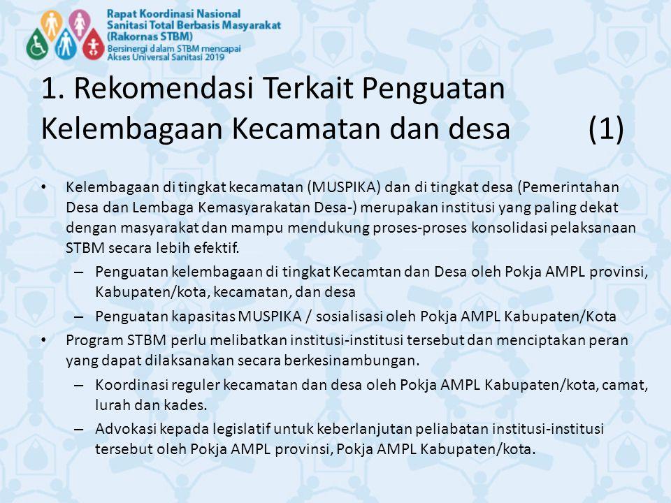 1. Rekomendasi Terkait Penguatan Kelembagaan Kecamatan dan desa (1) Kelembagaan di tingkat kecamatan (MUSPIKA) dan di tingkat desa (Pemerintahan Desa