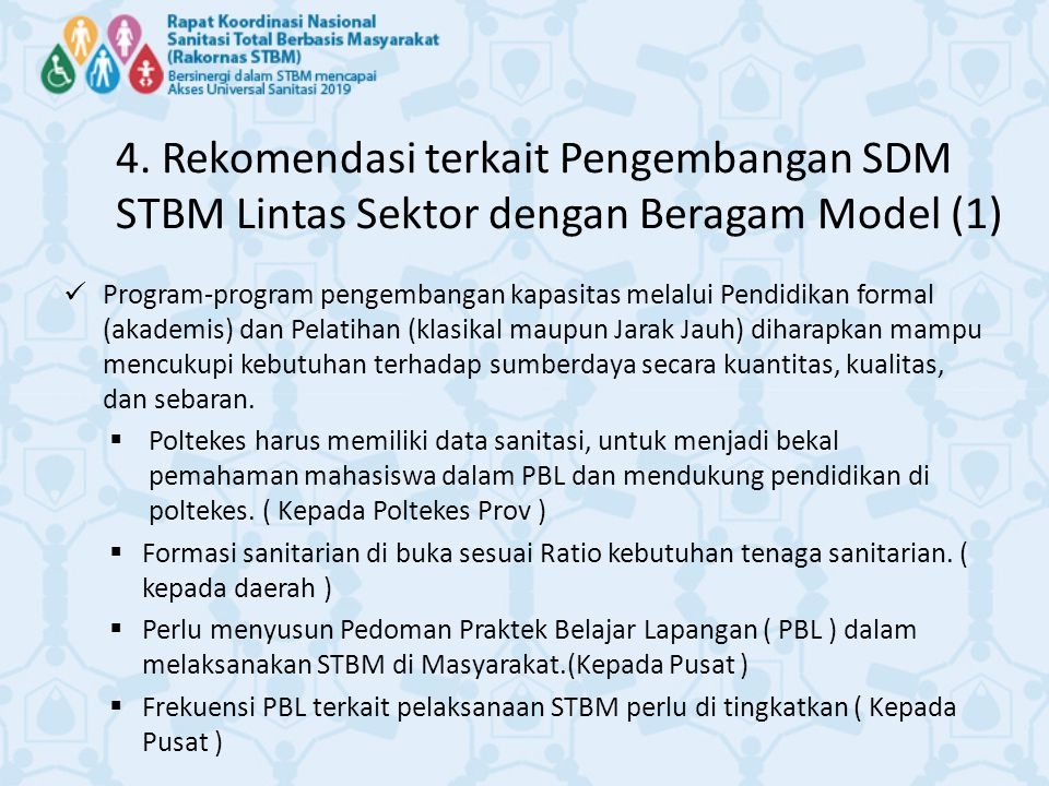 4. Rekomendasi terkait Pengembangan SDM STBM Lintas Sektor dengan Beragam Model (1) Program-program pengembangan kapasitas melalui Pendidikan formal (