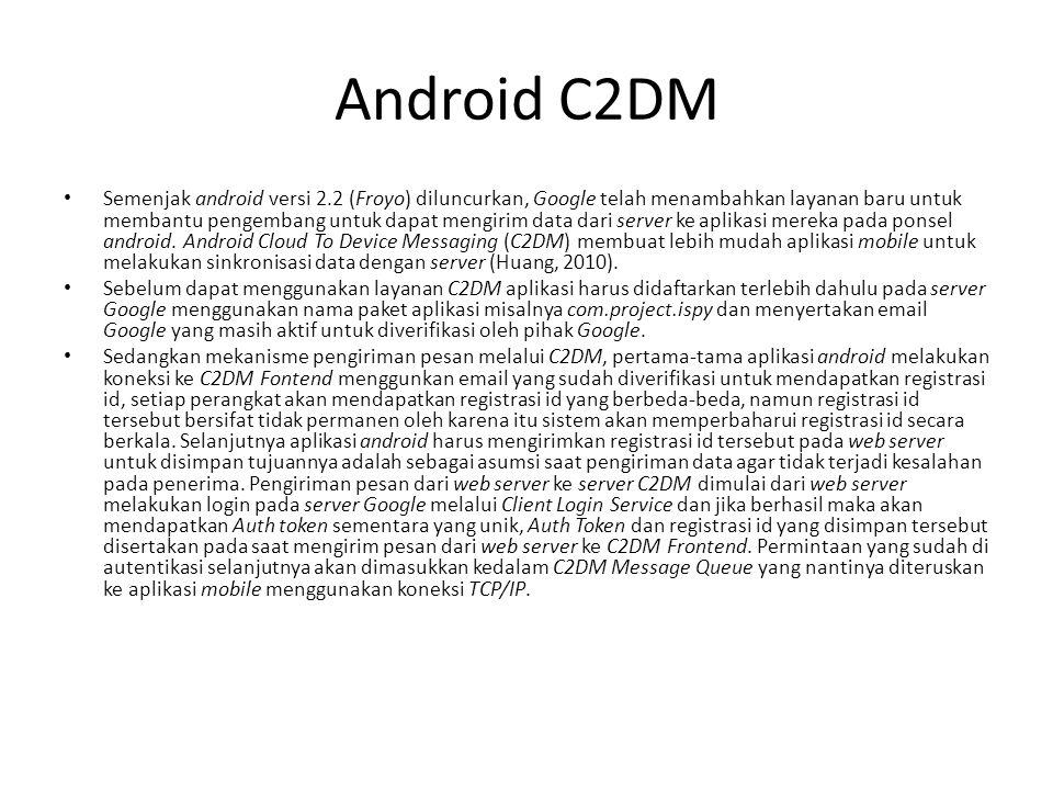 Implementasi C2DM Proses pengiriman pesan ke android menggunakan push message harus melewat Google C2DM Server terlebih dahulu.