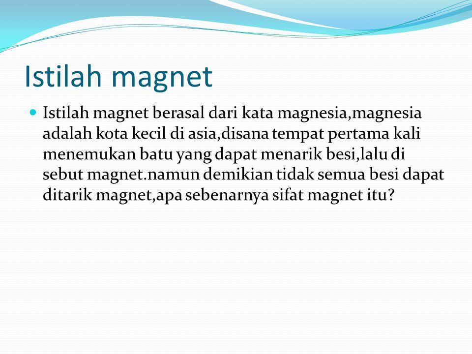 Istilah magnet Istilah magnet berasal dari kata magnesia,magnesia adalah kota kecil di asia,disana tempat pertama kali menemukan batu yang dapat menar