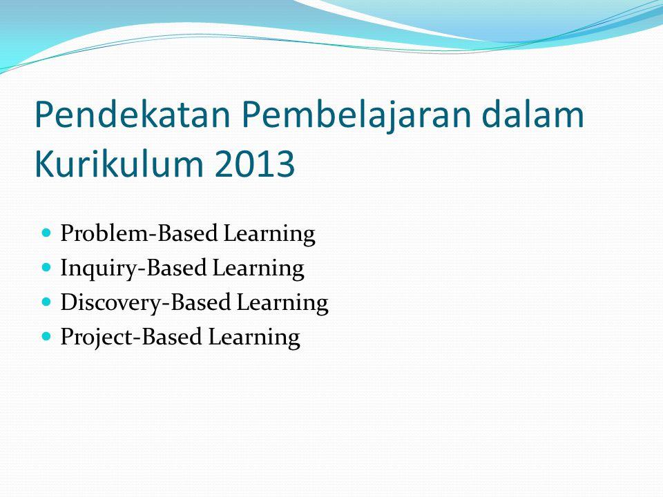 Pendekatan Pembelajaran dalam Kurikulum 2013 Problem-Based Learning Inquiry-Based Learning Discovery-Based Learning Project-Based Learning
