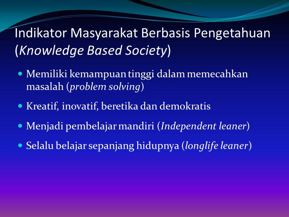 Indikator Masyarakat Berbasis Pengetahuan (Knowledge Based Society) Memiliki kemampuan tinggi dalam memecahkan masalah (problem solving) Kreatif, inov