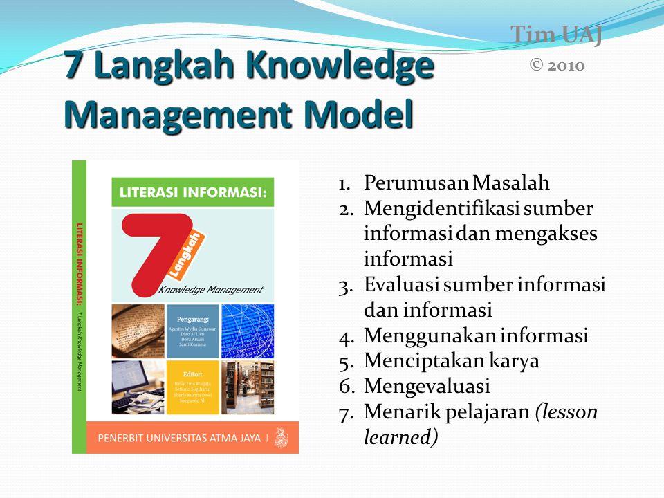 7 Langkah Knowledge Management Model 7 Langkah Knowledge Management Model Tim UAJ © 2010 1.Perumusan Masalah 2.Mengidentifikasi sumber informasi dan m