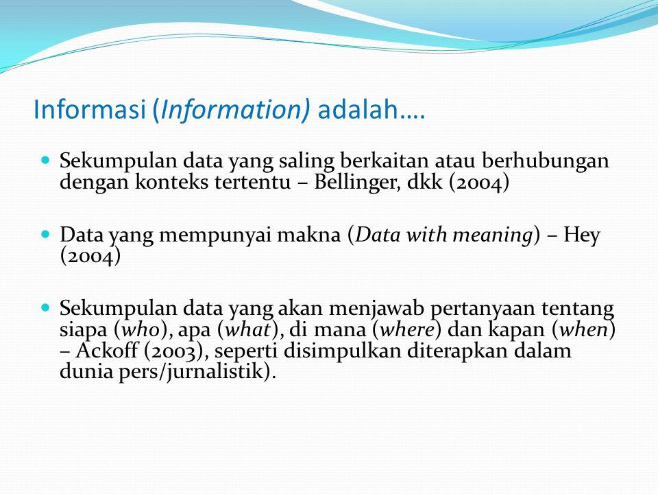 Informasi (Information) adalah…. Sekumpulan data yang saling berkaitan atau berhubungan dengan konteks tertentu – Bellinger, dkk (2004) Data yang memp