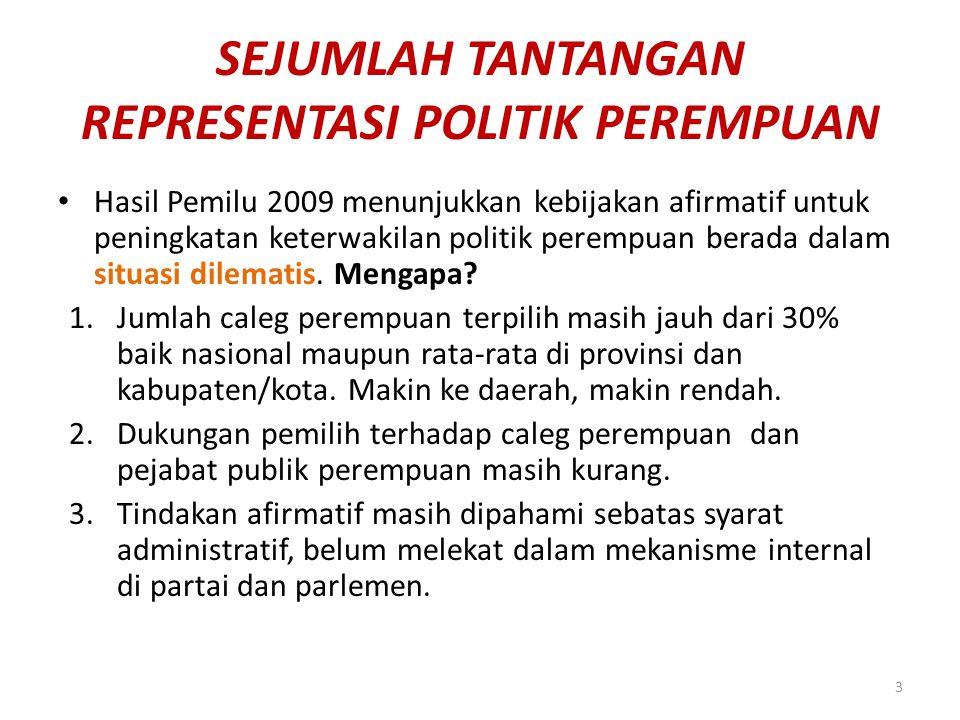 SEJUMLAH TANTANGAN REPRESENTASI POLITIK PEREMPUAN Hasil Pemilu 2009 menunjukkan kebijakan afirmatif untuk peningkatan keterwakilan politik perempuan b