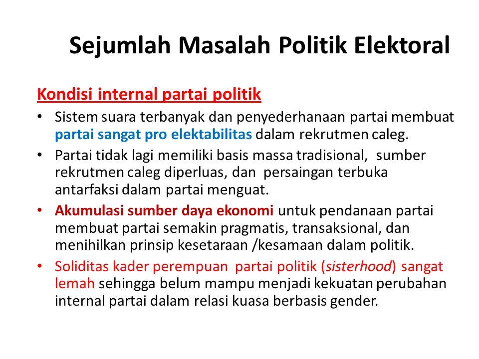 Sejumlah Masalah Politik Elektoral Kondisi internal partai politik Sistem suara terbanyak dan penyederhanaan partai membuat partai sangat pro elektabi