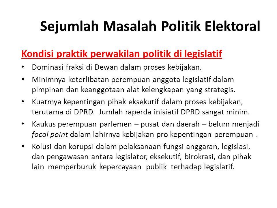 Sejumlah Masalah Politik Elektoral Kondisi praktik perwakilan politik di legislatif Dominasi fraksi di Dewan dalam proses kebijakan. Minimnya keterlib