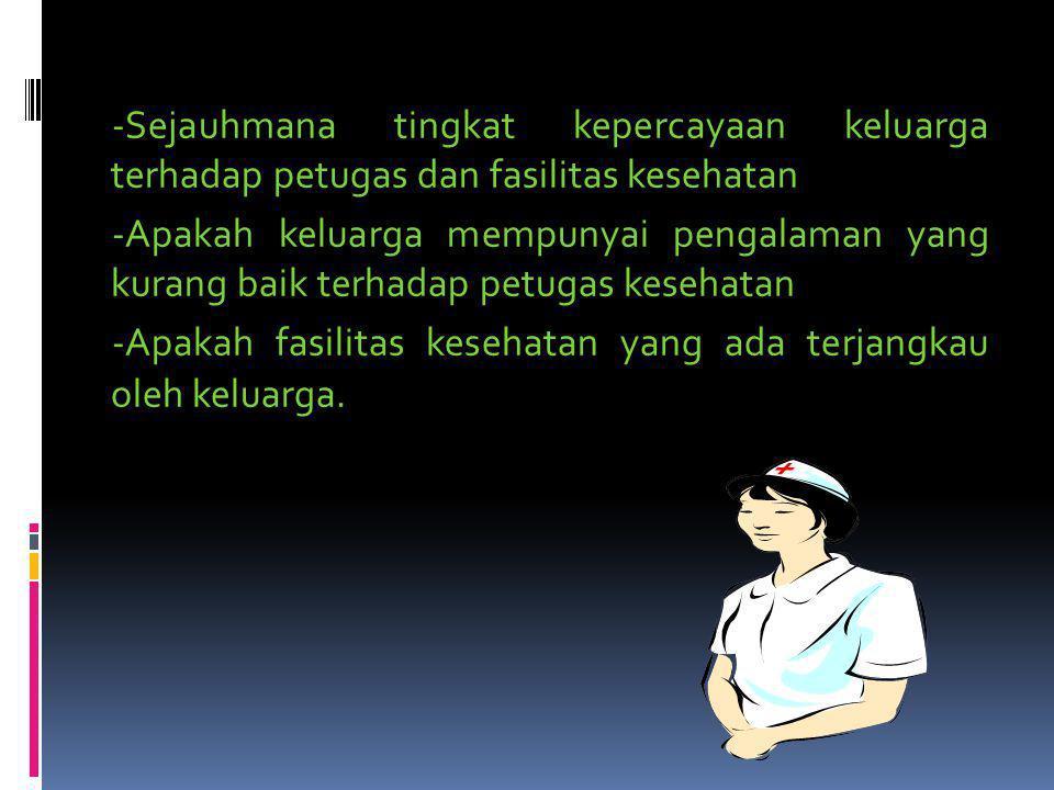 ***** Untuk mengetahui sejauhmana kemampuan keluarga menggunakan fasilitas/pelayanan kesehatan di masyarakat, hal yang perlu dikaji adalah : -Sejauhma