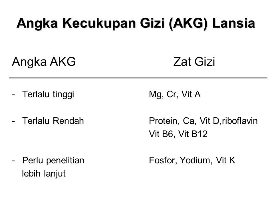 Angka Kecukupan Gizi (AKG) Lansia Angka AKG Zat Gizi -Terlalu tinggiMg, Cr, Vit A -Terlalu RendahProtein, Ca, Vit D,riboflavin Vit B6, Vit B12 -Perlu