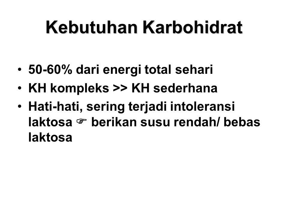 Kebutuhan Karbohidrat 50-60% dari energi total sehari KH kompleks >> KH sederhana Hati-hati, sering terjadi intoleransi laktosa  berikan susu rendah/