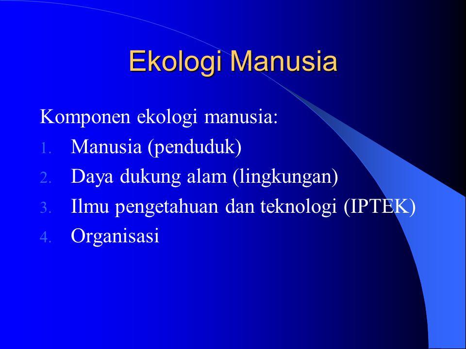 Ekologi Manusia Komponen ekologi manusia: 1. Manusia (penduduk) 2. Daya dukung alam (lingkungan) 3. Ilmu pengetahuan dan teknologi (IPTEK) 4. Organisa