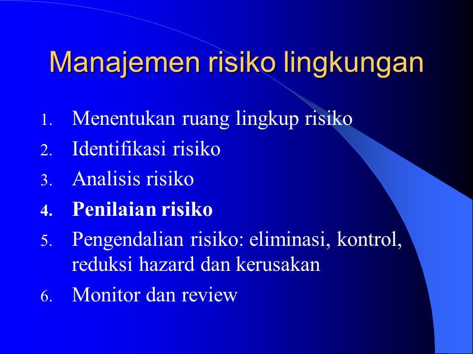 Manajemen risiko lingkungan 1. Menentukan ruang lingkup risiko 2. Identifikasi risiko 3. Analisis risiko 4. Penilaian risiko 5. Pengendalian risiko: e