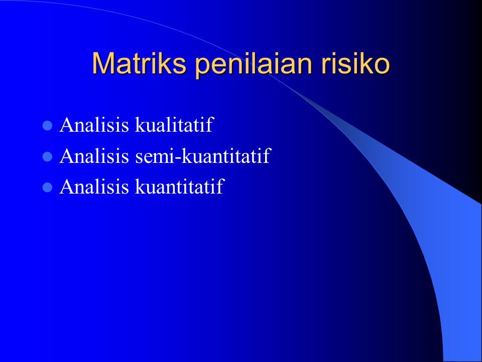 Matriks penilaian risiko Analisis kualitatif Analisis semi-kuantitatif Analisis kuantitatif