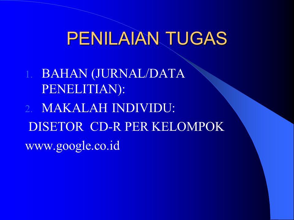 PENILAIAN TUGAS 1. BAHAN (JURNAL/DATA PENELITIAN): 2. MAKALAH INDIVIDU: DISETOR CD-R PER KELOMPOK www.google.co.id