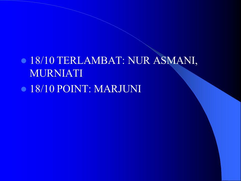 18/10 TERLAMBAT: NUR ASMANI, MURNIATI 18/10 POINT: MARJUNI