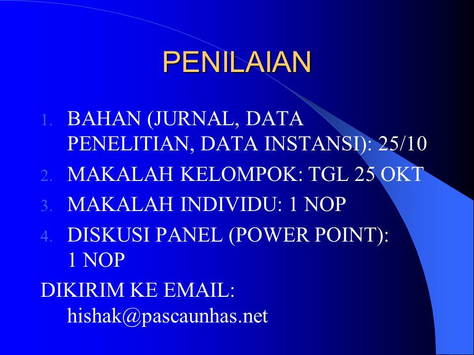 PENILAIAN 1. BAHAN (JURNAL, DATA PENELITIAN, DATA INSTANSI): 25/10 2. MAKALAH KELOMPOK: TGL 25 OKT 3. MAKALAH INDIVIDU: 1 NOP 4. DISKUSI PANEL (POWER