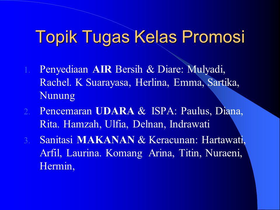 Topik Tugas Kelas Promosi 1. Penyediaan AIR Bersih & Diare: Mulyadi, Rachel. K Suarayasa, Herlina, Emma, Sartika, Nunung 2. Pencemaran UDARA & ISPA: P