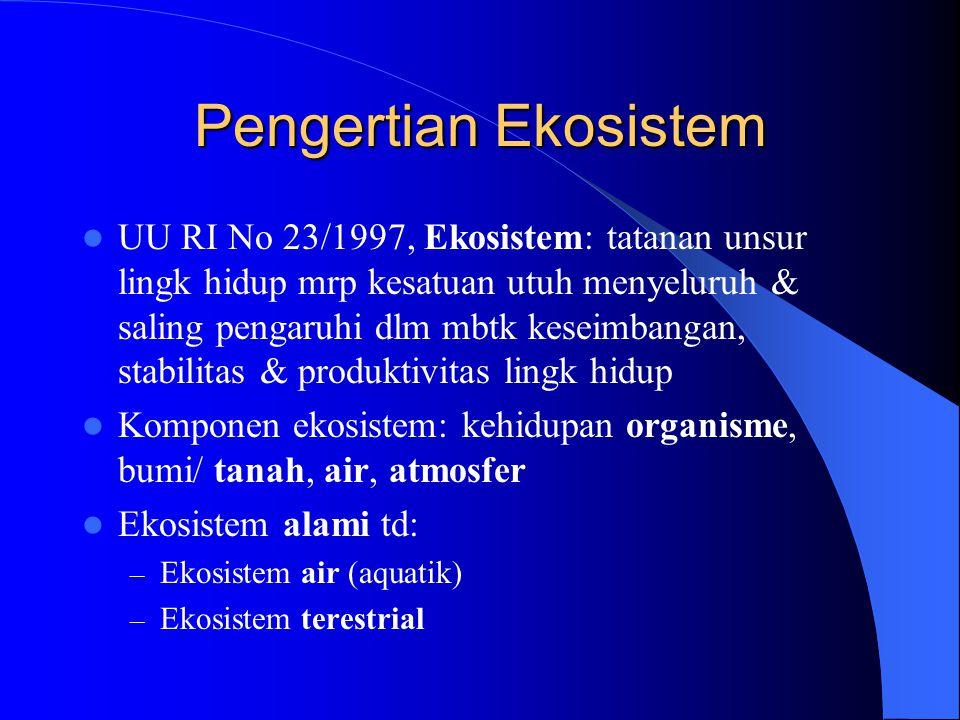 Pengertian Ekosistem UU RI No 23/1997, Ekosistem: tatanan unsur lingk hidup mrp kesatuan utuh menyeluruh & saling pengaruhi dlm mbtk keseimbangan, stabilitas & produktivitas lingk hidup Komponen ekosistem: kehidupan organisme, bumi/ tanah, air, atmosfer Ekosistem alami td: – Ekosistem air (aquatik) – Ekosistem terestrial