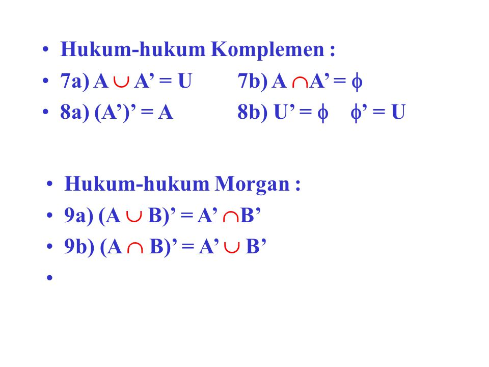 Hukum-hukum Komplemen : 7a) A  A' = U7b) A  A' =  8a) (A')' = A8b) U' =   ' = U Hukum-hukum Morgan : 9a) (A  B)' = A'  B' 9b) (A  B)' = A'  B'