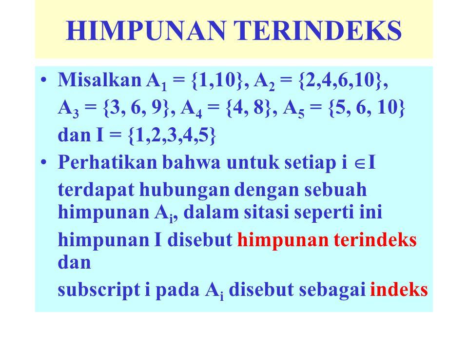 HIMPUNAN TERINDEKS Misalkan A 1 = {1,10}, A 2 = {2,4,6,10}, A 3 = {3, 6, 9}, A 4 = {4, 8}, A 5 = {5, 6, 10} dan I = {1,2,3,4,5} Perhatikan bahwa untuk setiap i  I terdapat hubungan dengan sebuah himpunan A i, dalam sitasi seperti ini himpunan I disebut himpunan terindeks dan subscript i pada A i disebut sebagai indeks