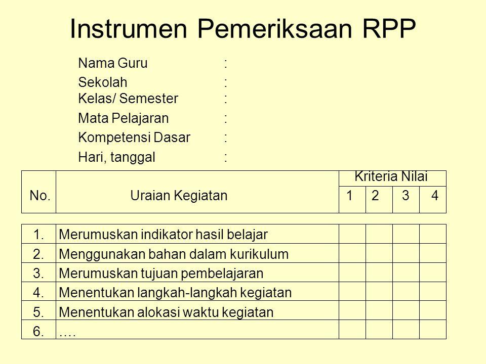 Instrumen Pemeriksaan RPP Nama Guru: Sekolah: Kelas/ Semester: Mata Pelajaran: Kompetensi Dasar: Hari, tanggal: Kriteria Nilai No. Uraian Kegiatan 1 2