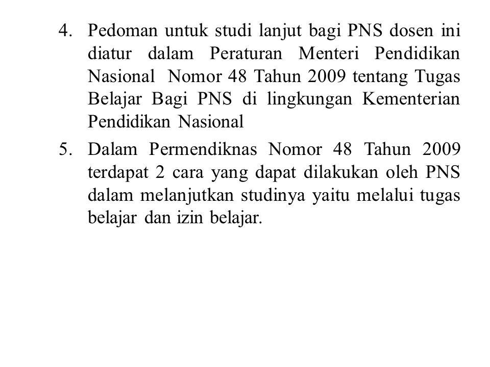 4.Pedoman untuk studi lanjut bagi PNS dosen ini diatur dalam Peraturan Menteri Pendidikan Nasional Nomor 48 Tahun 2009 tentang Tugas Belajar Bagi PNS