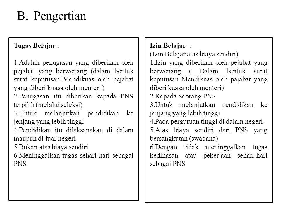 B.Pengertian Tugas Belajar : 1.Adalah penugasan yang diberikan oleh pejabat yang berwenang (dalam bentuk surat keputusan Mendiknas oleh pejabat yang d
