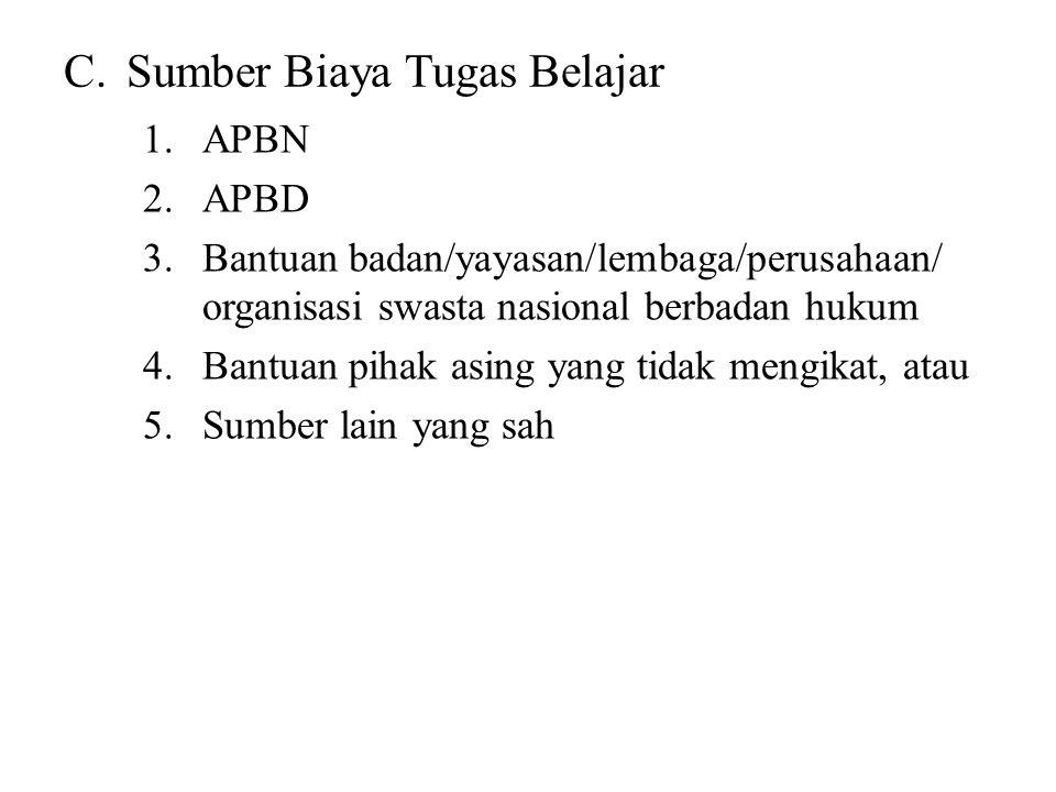 C.Sumber Biaya Tugas Belajar 1.APBN 2.APBD 3.Bantuan badan/yayasan/lembaga/perusahaan/ organisasi swasta nasional berbadan hukum 4.Bantuan pihak asing