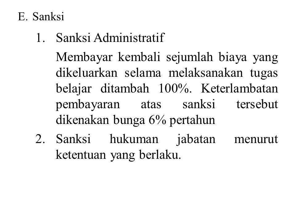 E.Sanksi 1.Sanksi Administratif Membayar kembali sejumlah biaya yang dikeluarkan selama melaksanakan tugas belajar ditambah 100%. Keterlambatan pembay