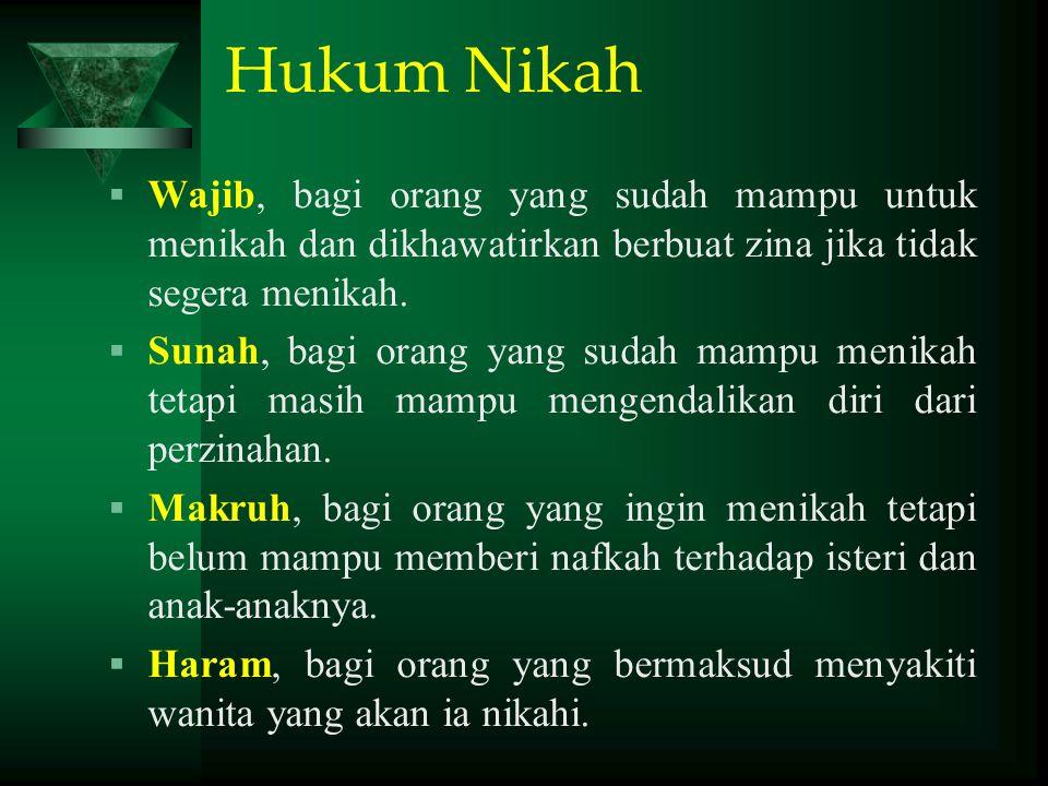 Hukum Nikah  Wajib, bagi orang yang sudah mampu untuk menikah dan dikhawatirkan berbuat zina jika tidak segera menikah.