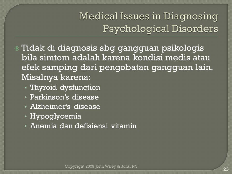 Copyright 2009 John Wiley & Sons, NY 23  Tidak di diagnosis sbg gangguan psikologis bila simtom adalah karena kondisi medis atau efek samping dari pengobatan gangguan lain.